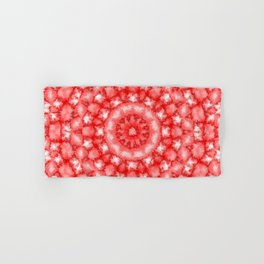 Kaleidoscope Fuzzy Red and White Circular Pattern Hand & Bath Towel