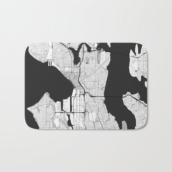 Seattle Map Gray Bath Mat