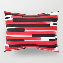 Red Primitive Stripes Mid Century Modern Minimalist Watercolor Gouache Painting Colorful Stripes Wat Pillow Sham