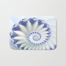 Blue Nautilus Abstract Fractal Art Bath Mat