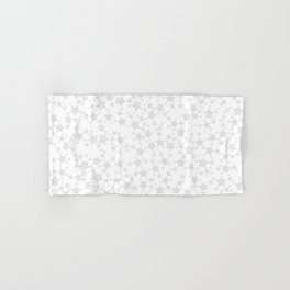 Block Print Silver-Gray and White Stars Pattern Hand & Bath Towel