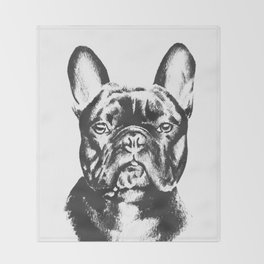 Black And White French Bulldog Sketch Throw Blanket