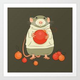 Mouse with a Christmas ball II Art Print
