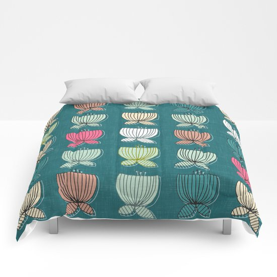 flower cups teal Comforters