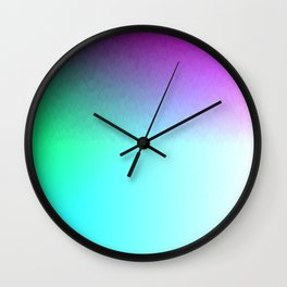 Six Color Ombre Cyan, Purple, Green, Pink, Purple, Blue, Spectrum Flame Texture  Wall Clock