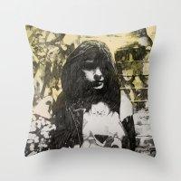 jenna kutcher Throw Pillows featuring JENNA by JESSE OLWEN