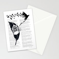 Vintage print with Edgar Alan Poe Poem and Raven Silhouette: Break Free Stationery Cards