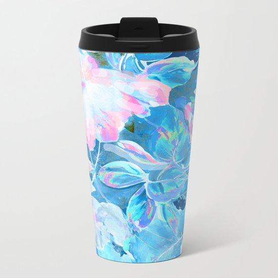 hibiscus blue Metal Travel Mug
