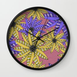 Blue and Yellow Striped Sketch Flowers Illustrated Pattern Wall Clock
