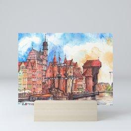 Gdansk watercolor illustration Mini Art Print
