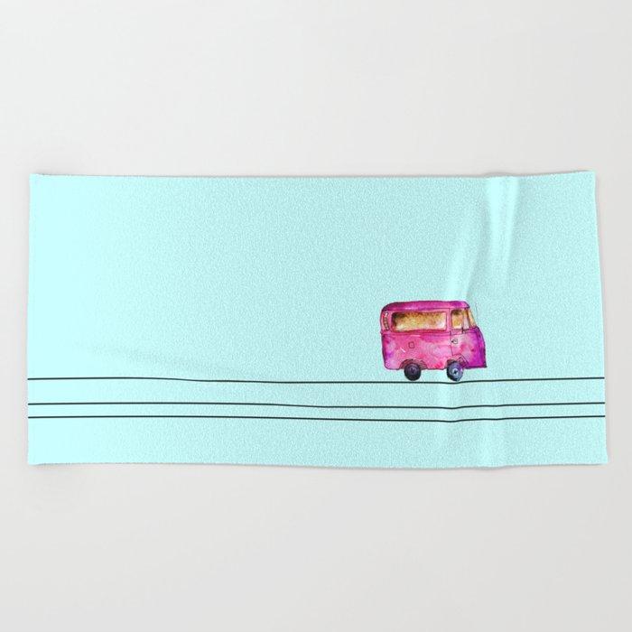 Little bus Beach Towel
