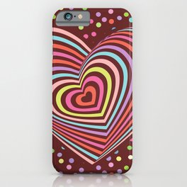 multi-colored rainbow heart on dark brown background. 3D iPhone Case