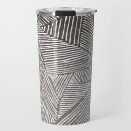 Black and White  Lines Travel Mug