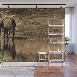 Mother and son drinking Wall Mural