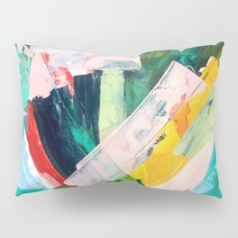 Livin' Easy - a bright abstract piece in blues, greens, yellow and red Pillow Sham