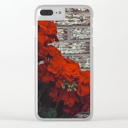 Red bricks red flowers Clear iPhone Case