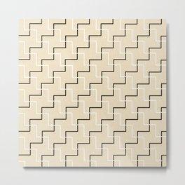 Geometrical black white ivory modern chevron Metal Print