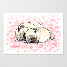 Snuggle Pugs Canvas Print
