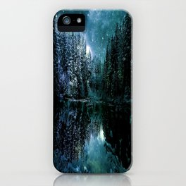Winter Wonderland Forest Green Teal : A Cold Winter's Night iPhone Case