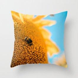 sunflower bee Throw Pillow