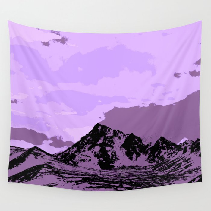 Chugach Mountains - EggPlant Pop Art Wall Tapestry