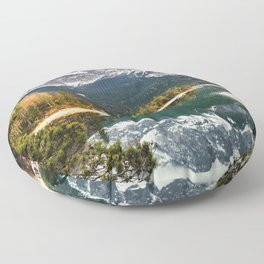 Green Blue Lake, Trees and Mountains Floor Pillow