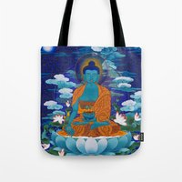 medicine Tote Bags featuring Medicine Buddha by Kalsang Dawa