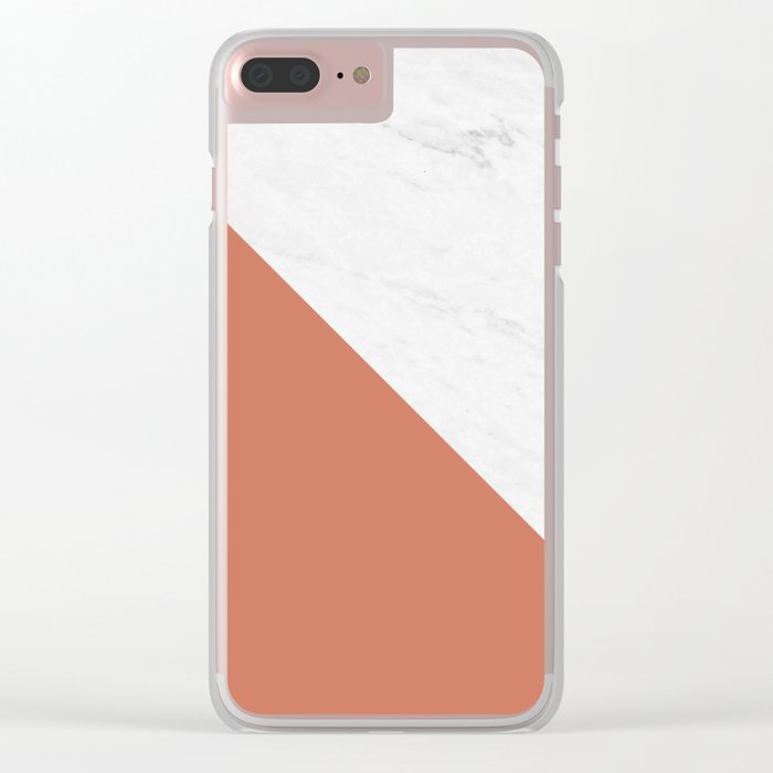 Diagonal Marble Earthy Red Clear iPhone Case