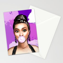 Retro Pinup Girl Blowing Bubble Gum Paint Strokes Stationery Cards