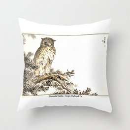 Numata Kashu Scops Owl and Fir Throw Pillow