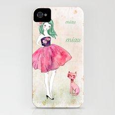 Pink cat iPhone (4, 4s) Slim Case