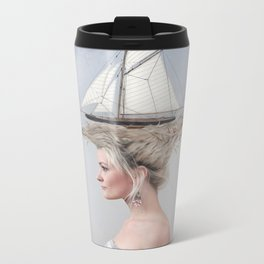 Sailing - White Metal Travel Mug