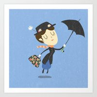 mary poppins Art Prints featuring Mary Poppins by Rod Perich