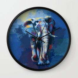 Elephant Dream - Colorful wild animal digital painting Wall Clock