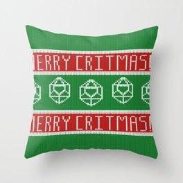 Merry Critmas - D&D Christmas Sweater Throw Pillow