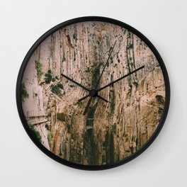 Path over the rock mountains Wall Clock