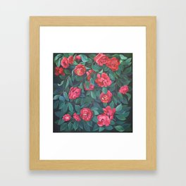 Camellias, lips and berries. Framed Art Print