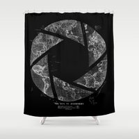 aperture Shower Curtains featuring Traveling Lens by Tobe Fonseca