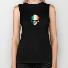 Flag of Ireland on a Chaotic Splatter Skull Biker Tank