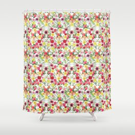 Easter rabbit with spring flowers, watercolor Shower Curtain