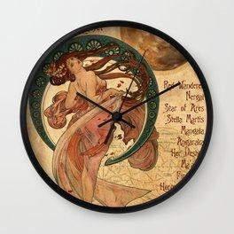 Mars - A Mucha Style Art Nouveau Interpretation Wall Clock