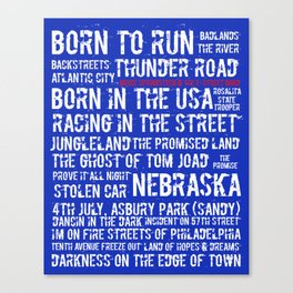 Springsteen Top 25 Songs Canvas Print