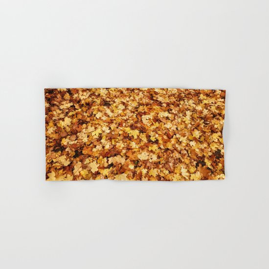 Gold yellow fall maple leaves Hand & Bath Towel