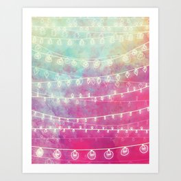 Colorful Night Lights Art Print