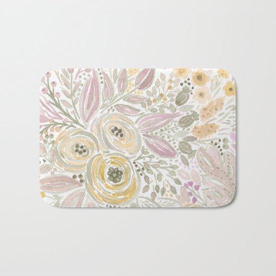 Watercolor . Flower meadow . 1 Bath Mat