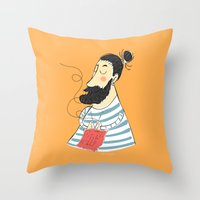 knitting Throw Pillows featuring knitting by Milla Scramignon