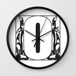 Northwest Pacific Coast American Native Totem White Letter O Wall Clock