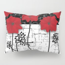 Applique Poppies on black and white background . Pillow Sham