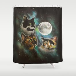 Three Cat Moon Shower Curtain