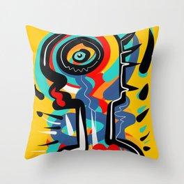 Wild Heart Street Art Graffiti Primitive Throw Pillow